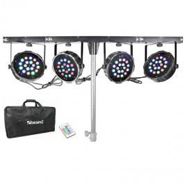 Beamz PARBAR 4 sávos készlet, 18 x 1 W, RGB LED diódák, DMX, T gerenda, hordtáska