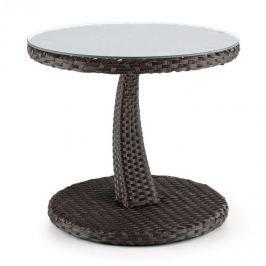Blumfeldt Tabula, kétszínű, barna, kisasztal, 50 cm, üveg, polirattan, alumínium