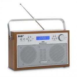 Auna Akkord digitális rádió, hordozható, DAB+/PPL-FM rádió, ébresztőóra, LED, diófa