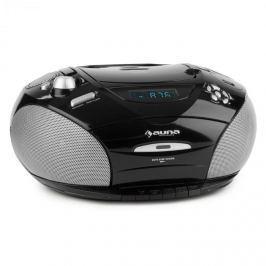 Auna RCD 220, fekete, boombox, CD, USB, kazettás magnetofon, PLL FM rádió, MP3, 2 x 2 W