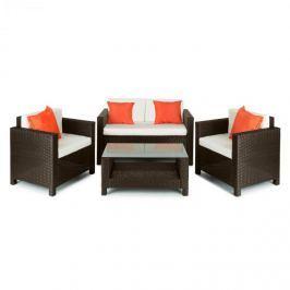 Blumfeldt Verona kerti bútor, ülőgarnitúra, 4 részes, polyrattan, barna/bézs/narancssárga