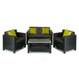 Blumfeldt Verona kerti bútor, ülőgarnitúra, 4 részes, polyrattan, fekete/szürke/zöld