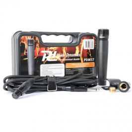 Power Dynamics PDM57, dinamikus mikrofon, XLR, kábel, tartó, adapter mellékelve