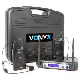 Vonyx WM512H, 2 csatornás UHF adó rendszer, övre tehető adó, kijelző