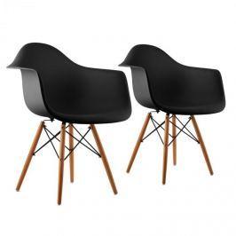 OneConcept Bellagio, fekete, kagylóüléses szék, 2 darabos készlet, retro, PP ülőke, nyírfa