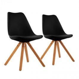 OneConcept Onassis, fekete, kagylóüléses szék, 2 darabos készlet, retro, kárpitozott, nyírfa