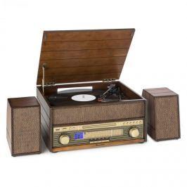 Auna Epoque 1909, retro audio rendszer, gramofon, kazetták, bluetooth, USB, CD, AUX