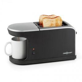 OneConcept Quickie 2 az 1-ben kétszeletes kenyérpirító, mini kávéfőző, csésze