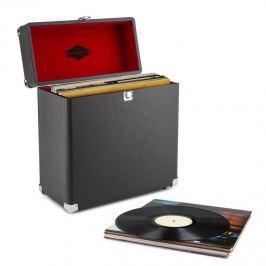 Auna TTS6 lemez tartó bőrönd, műbőr, nosztalgikus, 30 LP lemez, fekete
