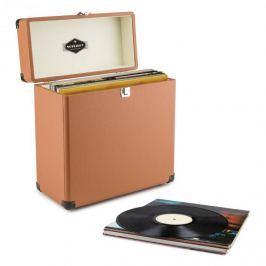 Auna TTS6, barna, lemeztartó koffer, bőr, nosztalgikus, 30 LP lemez