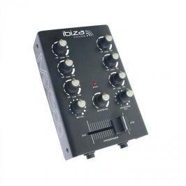 Ibiza MIX500 2 csatornás mini keverő, 2-sávos equalizer, fekete
