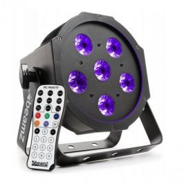 Beamz BFP130 FlatPAR LED reflektor, 6 x 6 W UV LED, DMX, IR-távirányító