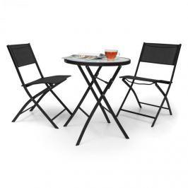 Blumfeldt Before Sunrise, háromrészes készlet, textilén, bisztró készlet, asztal, 2 szék, fekete