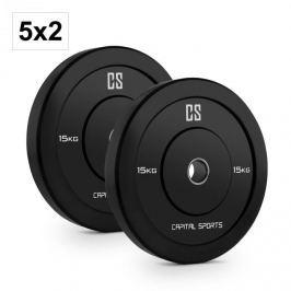 CAPITAL SPORTS Elongate Bumper Plate, súlytárcsa készlet, gumi, 10 x 15 kg