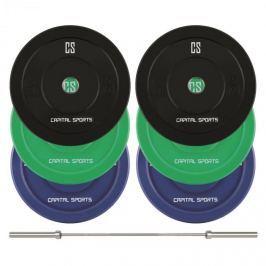 CAPITAL SPORTS Nipton Mens Set II, olimpiai rúd, 3 pár súly, 5, 10 és 20 kg