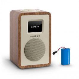 NUMAN Mini One Design digitális rádió, bluetooth, DAB+, FM, AUX, diófa, tölthető akkumulátorral