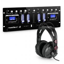 Resident DJ DJ405USB-BK, 4 csatornás DJ keverőpult, stúdiófülhallgató mellékelve