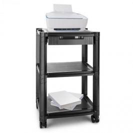 Auna P-Stand, fekete, kerekes asztal, nyomtató alá, fiók, három tárhely