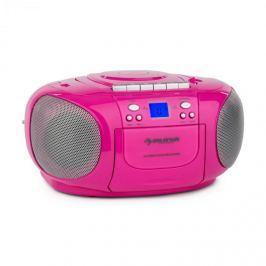 Auna BoomGirl Boom Box, rózsaszín, boombox, hordozható rádió, CD/MP3 lejátszó, kazettás lejátszó
