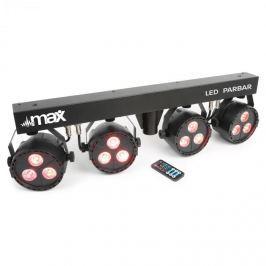 MAX LED PAR-bar-set 4-utas kit, 3x 4 az 1-ben LED RGBW, T-bar és állvány mellékelve
