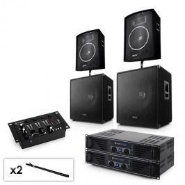 """Electronic-Star 2.2 PA rendszer készlet 2 x erősítővel, 2 x 15"""" subwooferrel, 2 x 10"""" hangfallal, keverőpulttal & kábelekkel"""