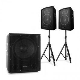 """Electronic-Star 2.1 aktív PA DJ szett, Bi-Amp subwooferrel, 10"""" hangfal párral és állványokkal"""