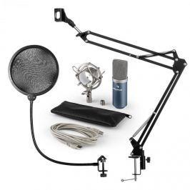 Auna MIC-900BL, v4 USB mikrofon készlet, kék, kondenzátoros mikrofon, POP szűrő, mikrofonkar