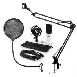 Auna MIC-900WH, v4 USB mikrofon készlet, fehér, kondenzátoros mikrofon, POP szűrő, mikrofonkar