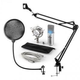 Auna MIC-900S-LED, V4 USB mikrofon készlet, ezüst, kondenzátoros mikrofon, POP szűrő, mikrofonkar, LED