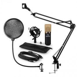 Auna MIC-900BG, v4 USB mikrofon készlet, arany, kondenzátoros mikrofon, POP szűrő, mikrofonkar
