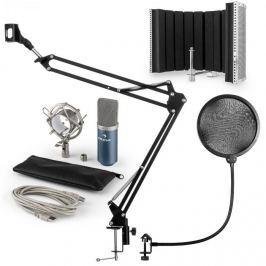 Auna auna MIC-900BL USB mikrofon szett V5 kondenzátoros mikrofon, pop filter, mikrofonernyő, mikrofon kar, kék