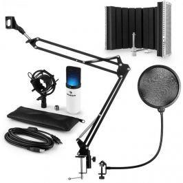 Auna MIC-900WH-LED V5, fehér, mikrofon készlet, kondenzátoros mikrofon, POP szűrő, reszorpciós panel, kar, LED
