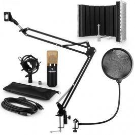 Auna MIC-900BG V5, arany, mikrofon készlet, kondenzátoros mikrofon, POP szűrő, reszorpciós panel, kar