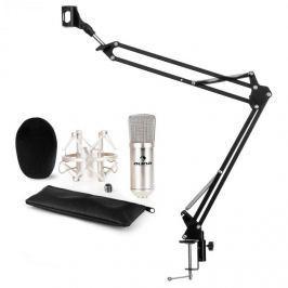 Auna auna CM001S mikrofon szett V3 kondenzátoros mikrofon, mikrofontartó kar, ezüst