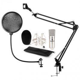 Auna auna CM001S mikrofon szett V4 kondenzátoros mikrofon, mikrofontartó kar, POP filter, ezüst