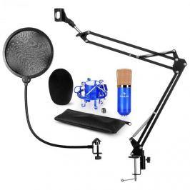 Auna CM001BG V4, kék, mikrofon készlet, XLR kondenzátoros mikrofon, kar, POP szűrő