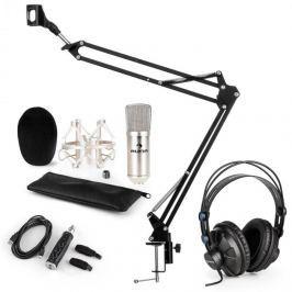 Auna CM001S mikrofon készlet V3 fülhallgató, kondenzátoros mikrofon, USB adapter, mikrofonkar, ezüst