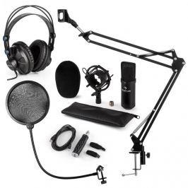 Auna CM001B mikrofon készlet V4 fülhallgató, kondenzátoros mikrofon, USB adapter, mikrofonkar, pop szűrő