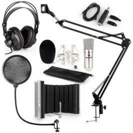 Auna CM001S mikrofon készlet V5 fülhallgató, USB adapter, mikrofonkar, pop szűrő, panel, ezüst