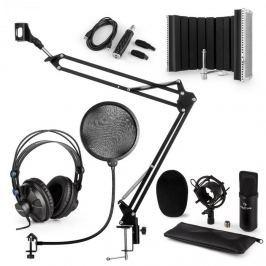 Auna CM001B V5, mikrofon készlet, fülhallgató, kondenzátoros mikrofon, panel, mikrofonkar, pop szűrő, fekete