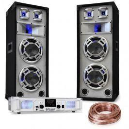 """Electronic-Star """"White Noise"""", DJ PA készlet, 2 x 500 W-os erősítő, 600W-os hangfalak, hangfal kábel"""