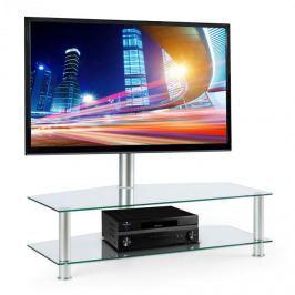 Electronic-Star FAVS19 TV asztal állvánnyal, 37-50 col, két üveges emelet, ezüst