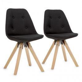 OneConcept Iseo szék, 2 részes készlet, ülőke párnázott PP konstrukcióval, nyírfa, fekete