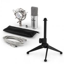 Auna auna MIC-900S V1 USB mikrofon szett, ezüst kondenzátor mikrofon   asztali állvány
