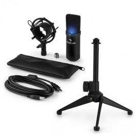 Auna auna MIC-900B-LED V1 USB mikrofon szett, fekete kondenzátor mikrofon   asztali állvány