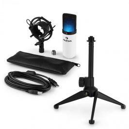 Auna auna MIC-900WH-LED V1 USB mikrofon szett, fehér kondenzátor mikrofon | asztali állvány