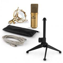 Auna auna MIC-900G V1 USB mikrofon szett, arany kondenzátor mikrofon   asztali állvány
