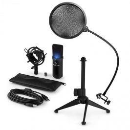Auna auna MIC-900B-LED V2, háromrészes USB mikrofon készlet, kondenzátoros mikrofon + pop szűrő + asztali állvány