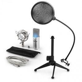 Auna auna MIC-900S-LED V2, háromrészes USB mikrofon készlet, kondenzátoros mikrofon + pop szűrő + asztali állvány