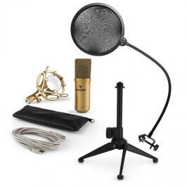 Auna auna MIC-900G-LED V2, háromrészes USB mikrofon készlet, kondenzátoros mikrofon + pop szűrő + asztali állvány